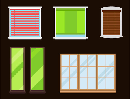 residential: Different types of house frames in glass decoration for apartment illustration.
