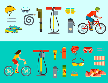 Active casual transportation accessories vector illustration. Illustration