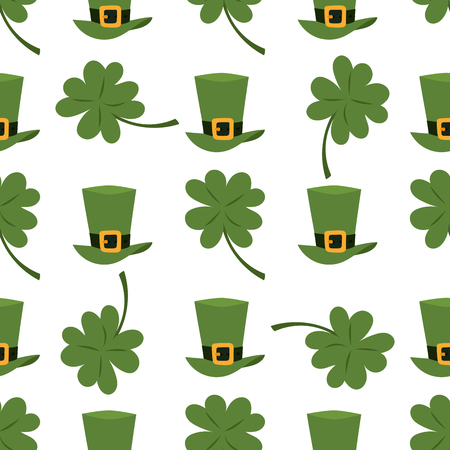 irish culture: Green material leprechaun hat with brown leather band seamless pattern background gold shamrock and buckle vector illustration. Patrick ireland celebration clover luck traditional coin festive cap.