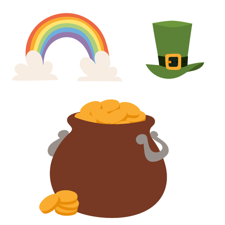 St. Patricks Day vector icons and leprechaun cartoon style symbols irish traditional decoration design vector illustration. Ireland march holiday.