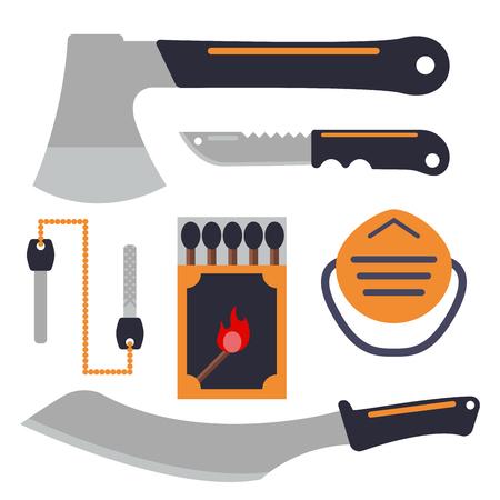 생존 비상 사태 장비 장비 및 여행 캠프 도구 및 하이킹 재해.