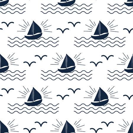 배송 순양함 보트 바다 원활한 패턴입니다. 일러스트