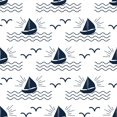 Ship cruiser boat sea seamless pattern.