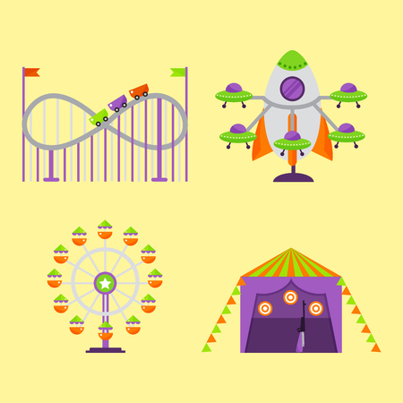 park: Amusement and entertainment themed park attraction illustration.