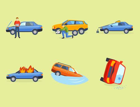 Automobile accident involving broken transportation illustrations.