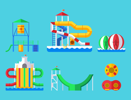 Water amusement aqua park and playground with slides and splash pads for family fun illustration.
