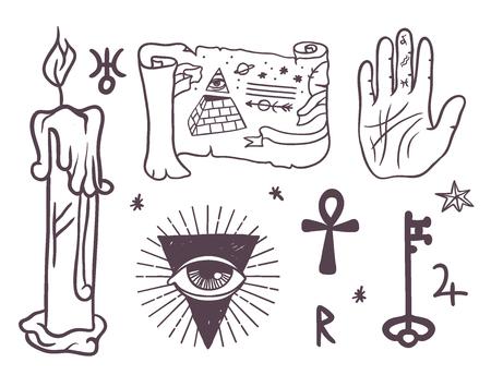 Trendy esoteric symbols sketch hand drawn.