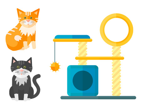 Colorful cat accessory and cute vector animal icons. Illustration