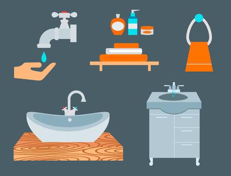 Bathroom icons process water savings symbols hygiene washing cleaning beauty illustration.