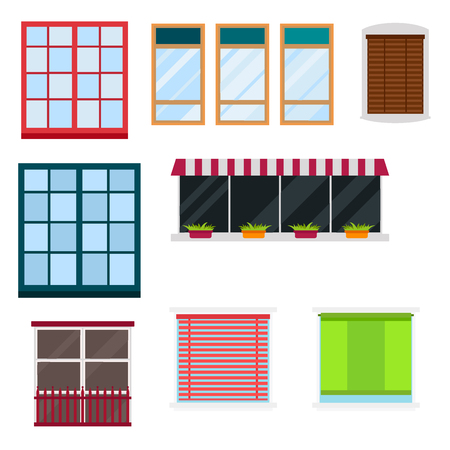 residential: Different types house windows elements flat style glass frames construction decoration apartment vector illustration. Illustration
