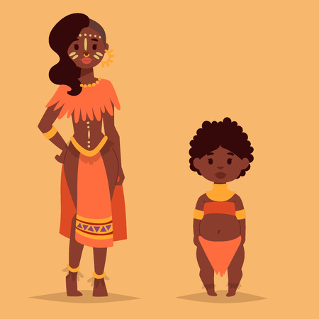 Maasai couple African people in traditional clothing design.