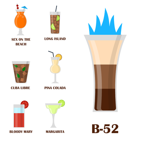 Different type of alcoholic drinks and glasses vector illustration. 向量圖像
