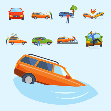 Different type of car accident illustration.