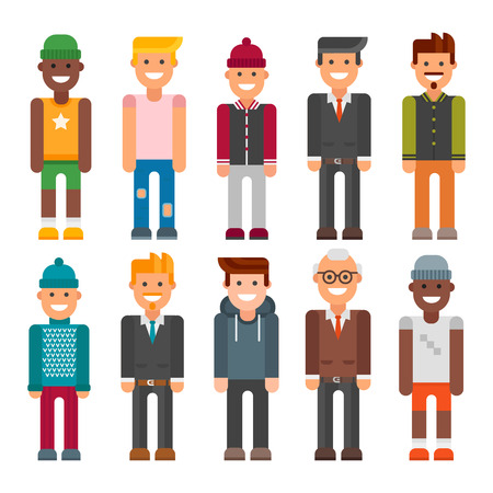Group of men portrait different nationality illustration.