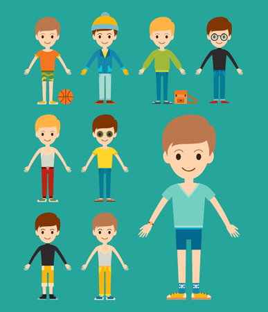 Group of young kid portrait friendship  illustration.