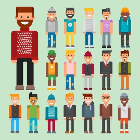 Group of men portrait different nationality  illustration. Illustration