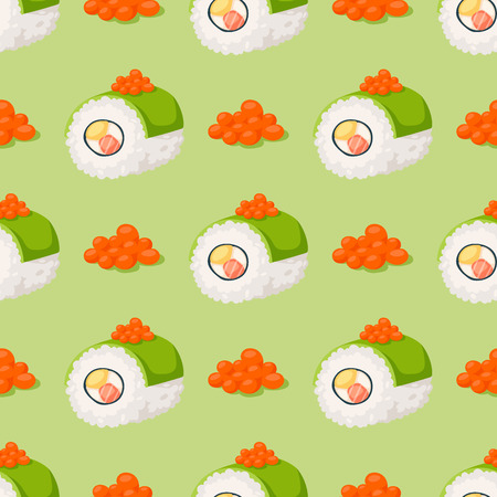 Sushi, traditional food flat healthy gourmet repetitive pattern; Asia meal culture roll  illustration.