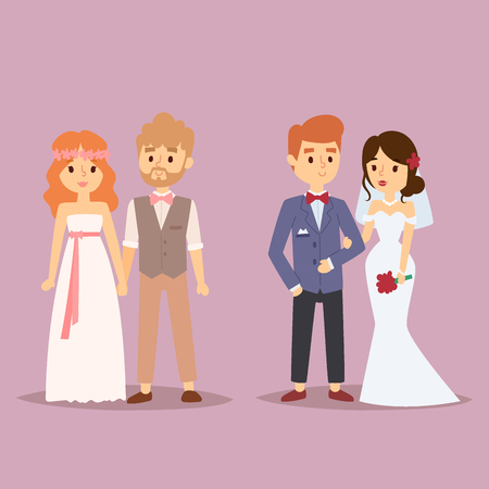 Wedding couple, beautiful model girl in white gown and man in suit; bride and groom illustration Illustration