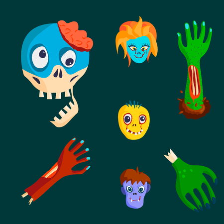Kleurrijk karakter van het zombie enge beeldverhaal en de magische pret van het mensenlichaamsdeel beeldverhaal.