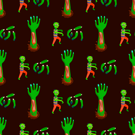 Colorful zombie scary cartoon character repetitive pattern, magic people, body part, cartoon, fun monster illustration