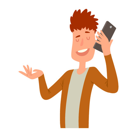 Successful professional man business people character talking his cell phone  illustration