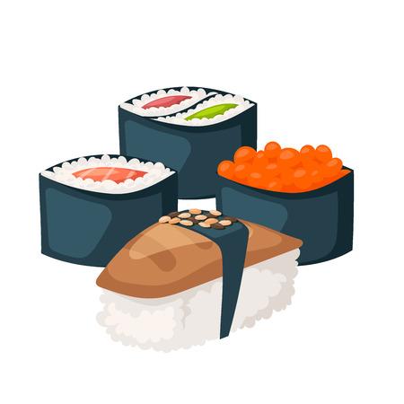 Sush, cuisine nourriture traditionnelle plat sain gastronomique icônes Asie repas culture rouleau illustration. Banque d'images - 87438310