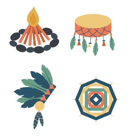 Indians icon, temple, ornament and element retro vintage, ethnic people tools illustration