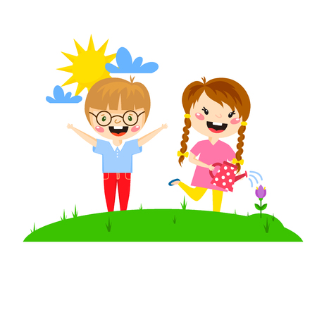 Kids play, enjoying spring arrival, warm summer, little characters happy playing  illustration. Illustration