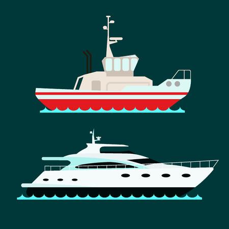 船クルーザー, ボート, 船のシンボル、旅行業界、ヨット、クルーズ、海洋アイコンのセット
