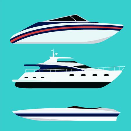 旅行業界、ヨット、クルーズ海洋アイコンのセット、クルーザー、ボート、海のシンボル、容器を出荷