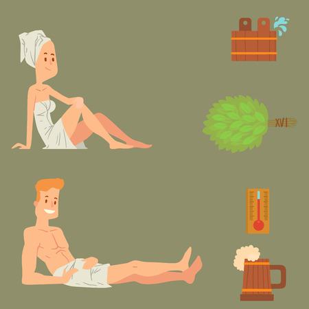 Bad mensen, lichaam wassen, gezicht en bad nemen douche, stoom, luxe ontspanning, tekens illustratie