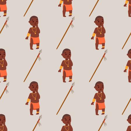 전통적인 의류에 마사 이족 아프리카 사람들 행복한 사람이 배경 원활한 패턴 가족 벡터 일러스트 레이 션.