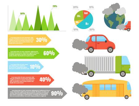 생태 infographics 공기 물 및 토양 오염 차트 벡터 일러스트와 함께 설정합니다.