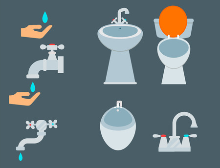 Bath equipment icon toilet bowl bathroom clean flat style illustration hygiene design. Stock Vector - 87649506