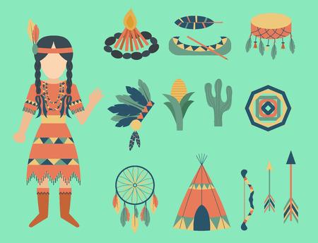 Van de het pictogramtempel van Indiërs het ornament en de elementen vectorillustratie van etnisch mensenhulpmiddelen van uitstekende vintage hinduism Stock Illustratie