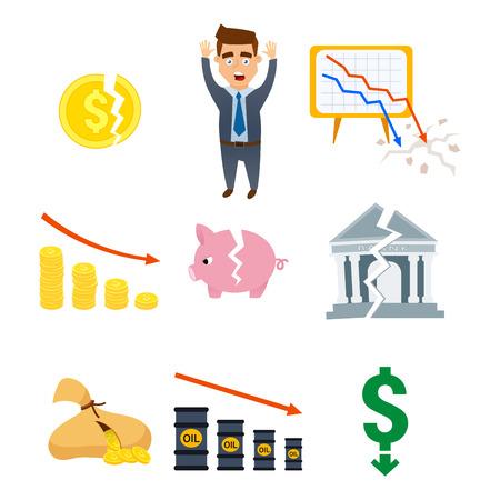 危機記号概念問題経済銀行業務ファイナンスデザイン投資アイコンベクトルイラスト。