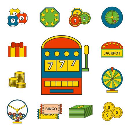 Een casino spel iconen op een witte achtergrond.