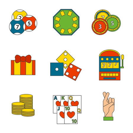 A casino game icons set on white background.