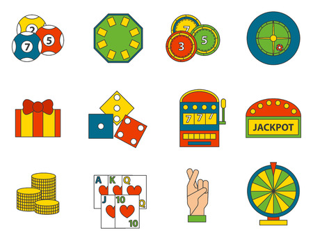Casino game icons set on white background.