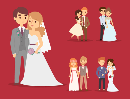 Wedding couple is hugging each other on red background.
