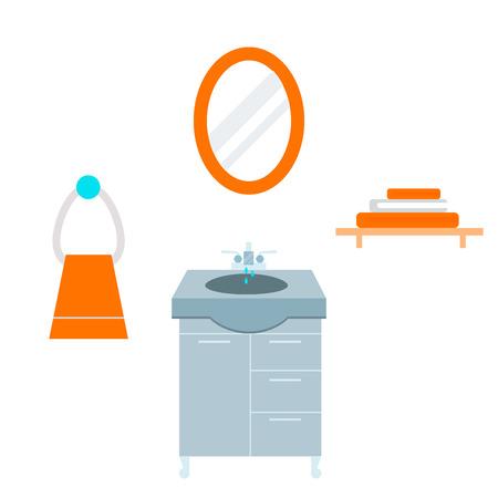 Bathroom icons process water savings symbols hygiene washing cleaning beauty illustration. Stok Fotoğraf - 87569921