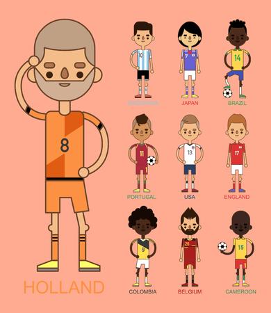Los equipos nacionales del fútbol de la taza de euro vector el ejemplo y el líder del capitán del jugador del juego del mundo en hombres aislados del deporte aisló caracteres. Foto de archivo - 87569923