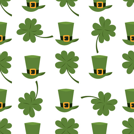 Green leprechaun hat and leaf seamless pattern on white background.