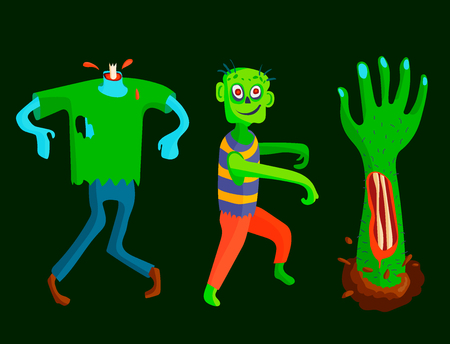 Colorful zombie scary cartoon character and magic people body part vector illustration.