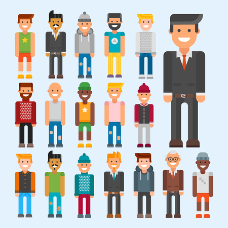 Group of men portrait different nationality friendship character team happy people young guy person vector illustration. Иллюстрация