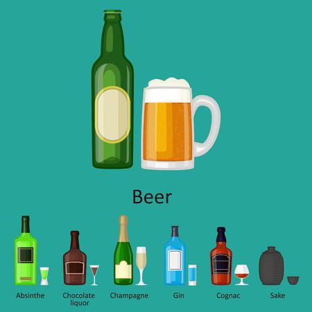 알코올 음료 음료 칵테일 병 라 거 컨테이너 술취한 다른 안경 벡터 일러스트 레이 션.