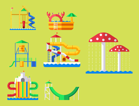 Water aquapark playground with slides and splash pads for family fun illustration. Illustration