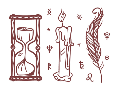 Sketch, hand drawn, religion, philosophy, spirituality, occultism, chemistry, science, magic trendy esoteric symbols illustration.