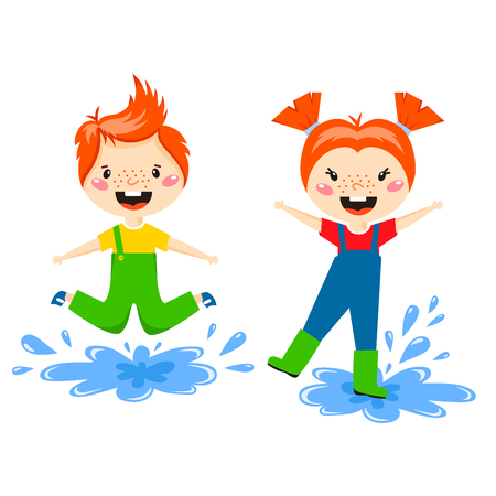 Boy and Girl playing water, enjoy spring arrival and warm summer; little characters happy playing illustration. Illustration