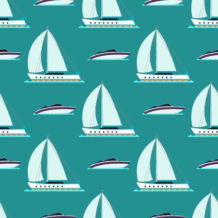 クルーザー ボート海の反復的なパターン、船舶、旅行業界、ヨット クルーズ、海洋の背景のセットを出荷します。